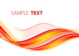 Abstract bright red striped wave. Vector