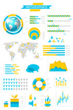 Infographic collection with labels and graphic elements. Vector
