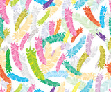 Abstract hand-drawing Seamless pattern with colorful feather - 39124791