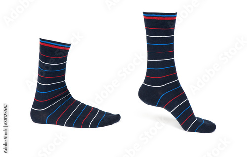 Pair of striped socks isolated on a white background - 39125567