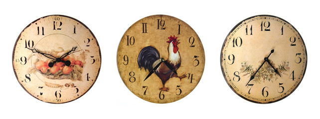 Set of country style clocks isolated on white