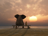Fototapety elephant and dog sit on a summer beach