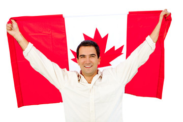 Man with Canada flag