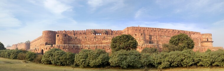 Panorama of the Red Fort in Agra, India