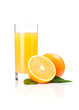 orange juice and slice isolated on white