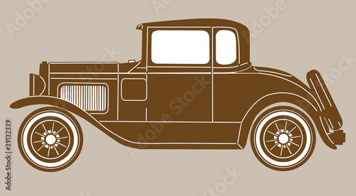 retro car on brown  background