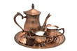 Evening with coffee.  Copper coffee set.