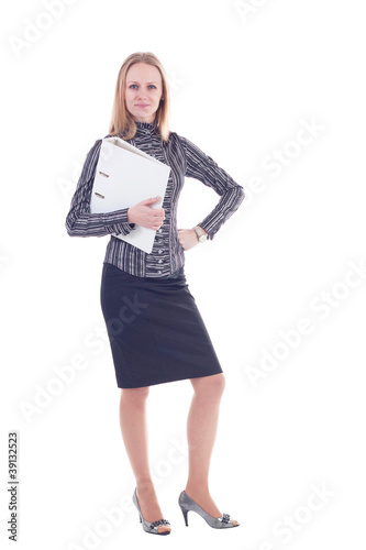 business woman holding reports