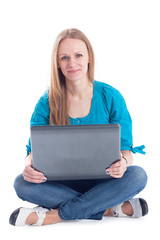 Happy female student with a laptop