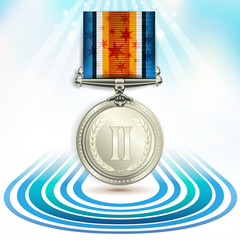 Silver medal with ribbon over sky background