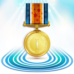 Gold medal with ribbon over sky background