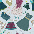 Seamless pattern with  women's clothing, shoes and accessories