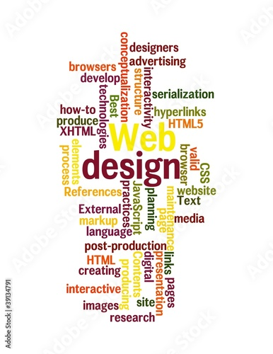 Web Design word cloud isolated on white background.