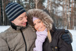 Couple on the winter background