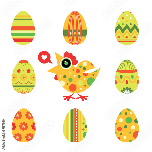 Easter chicken and eggs card - green