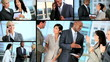 Montage of Successful Multi Ethnic Business Team