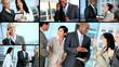 Montage of Successful Multi Ethnic Business Team