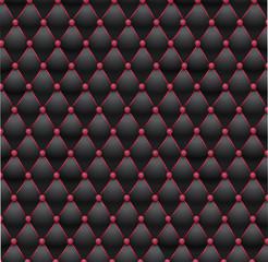 Chesterfield - tissu capitonné noir et rose