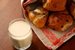 A glass of milk with rolls