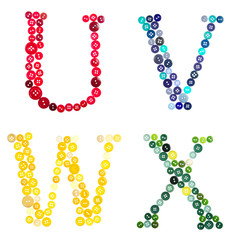 The letters U, V, W, and X made of photographed buttons