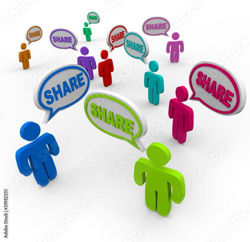 Share Speech Bubbles People Giving Sharing Comments
