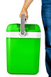 Green portable cooler for travel