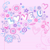 Valentine's Day Love Sketchy Heart Doodles Vector