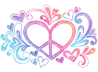 Peace Sign Love Heart Sketchy Doodles Vector Design Elements