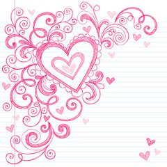 Valentine's Day Heart Sketchy Doodle Vector