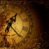 Vector grunge abstract background with antique clocks
