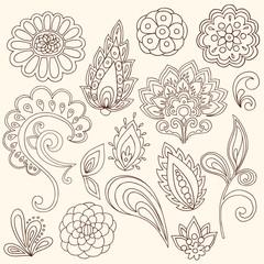 Henna Mehndi Paisley Tattoo Vector Design Elements