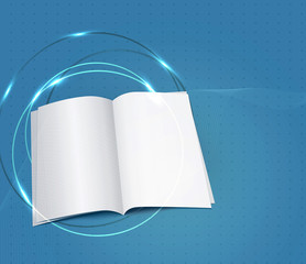 blue business background, with a copybook