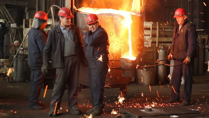 Men at work in the foundry