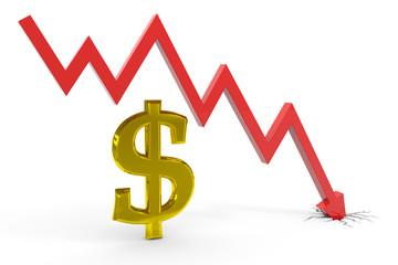 Decrease dollar graph.