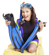 Girl wearing diving costume.
