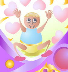 happy baby with love icon
