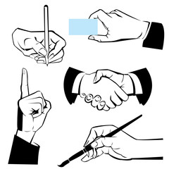 hands - different gestures. Black and white illustration