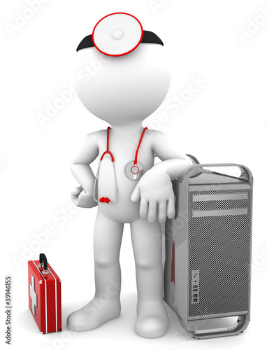 Medic with computer tower. Computer repair concept