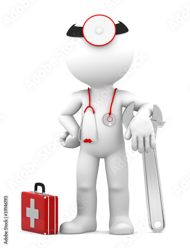 Medic with adjustable wrench. Repair concept