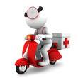 Medic on scooter. Emergency medical service concept. Isolated