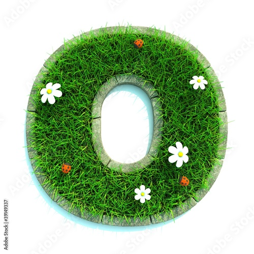 Beautiful Spring Letters made of Grass and Flowers with Border