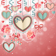 Valentine`s Day vintage card with paper hearts