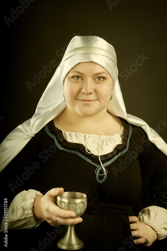Poster Medieval woman with goblet