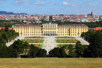 Vienna skyline with Schoenbrunn gardens