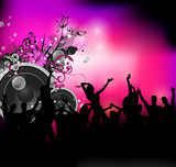 Party sound background with dancing people