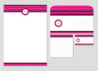 pink candy template blank, visiting card, notes and envelope