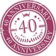 Stamp 40 anniversary, vector illustration