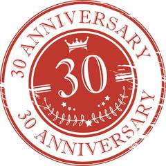 Stamp 30 anniversary, vector illustration