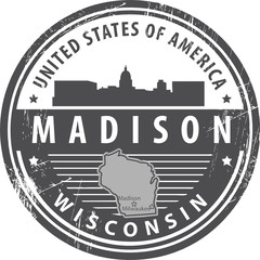 Grunge rubber stamp with name of Wisconsin, Madison, vector