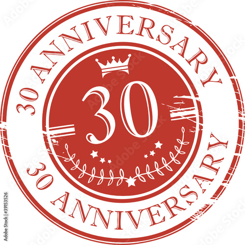 Stamp 30 anniversary, vector illustration